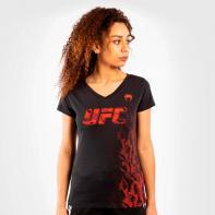 Camiseta Mujer Venum UFC Authentic Fight Week manga corta negro / rojo