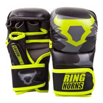 Guantillas de MMA Ringhorns Sparring Charger Negro Neo Yellow By Venum