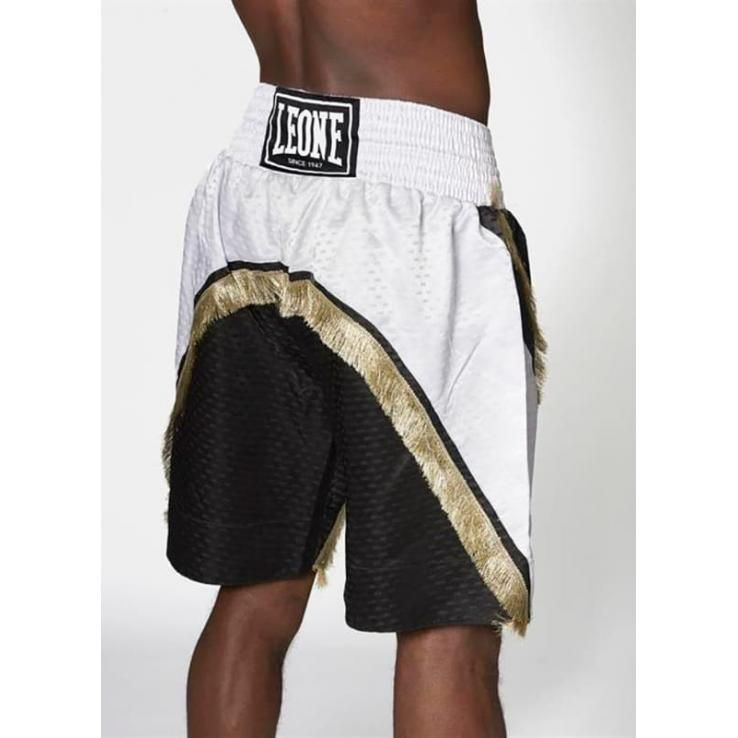 Pantalones de boxeo Leone Legend blanco / negro